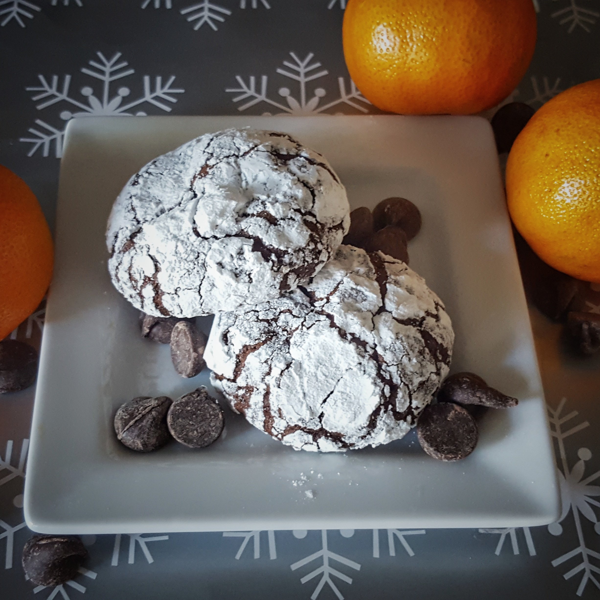 Dark Chocolate, Orange and Almond Crinkle Cookies